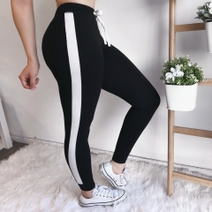 Women fashion sexy and comfortable features stitching sports pants black s