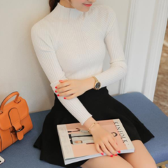 New 2018 Women sweater high elastic Solid Turtleneck  slim sexy tight Bottoming Knitted Pullovers white one size