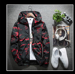 Spring and autumn hooded jacket long sleeve trim fashion handsome men's jacket youth jacke RED L
