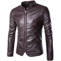 High-end men's leather coat men's slim motorcycle leather coat red m