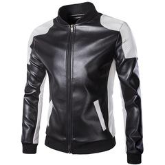 Men's stand-up collarwear trend black and white monochrome plus-size fur coats black m