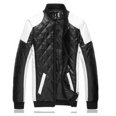 Men's water washing car leather fashion trend rhombic big size leather jacket black m