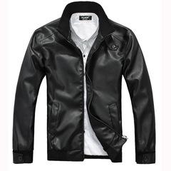 Men's biker fur collared men's large size leather jacket black m