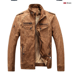 Men's premium thermal wash leather jacket foreign trade hot style leather jacket youth jacket brown m