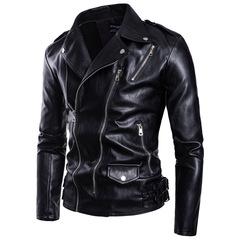 Fashionable men's biker large size multi-zipper leather jacket jacket black m