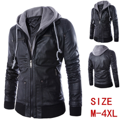 Europe and the United States wind foreign trade trim body hooded man locomotive leather coat black m