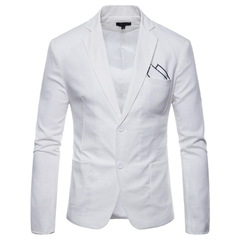 Men's casual suit in 9 colors of cotton and linen with 2 buttons white m