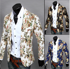 Men's stereoscopic tailored fit with small suit without hot stitching and floral suit white m