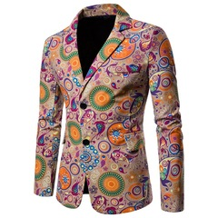 Men's African print ethnic style cotton and linen large size casual suit jacket 01 m