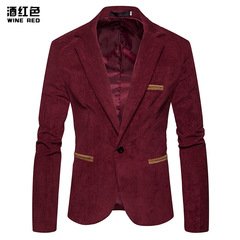 Spring and autumn new fashion men's corduroy matching casual suit jacket wine red m