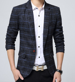 Men's casual suit men's Korean style western style slim suit spring and autumn plaid coat navy blue m