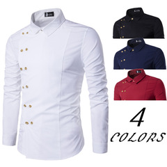 Hot new fashion menswear tuhao gold double-breasted slim long-sleeve shirt white m
