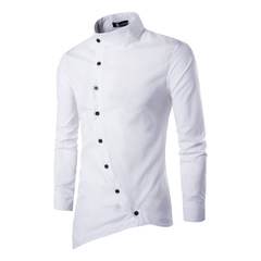 Men's fashion trend slanted front asymmetric small stand-up collar long sleeve shirt white m