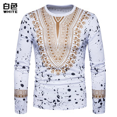 Fall and winter European code new fashion men's style broken flower 3D printed T-shirt white m