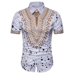 men Summer new minor-chic 3D printed short-sleeve shirt and shirt white m normal