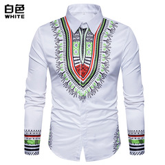 New European and American cross border big size men's hot national 3D printing long-sleeve shirt 3XL white m