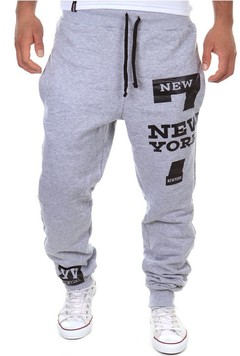 Foreign trade new sports pants fashion letters printed baggy sports pants gray m