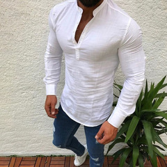 European and American autumn men's wear plain linen long sleeves casual half open collar shirt white m