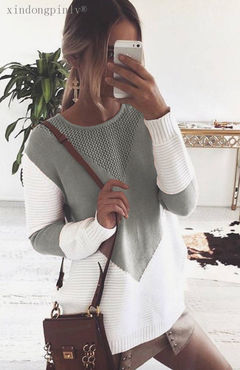 Stylish ladies color matching jumper cotton round neck top gray S