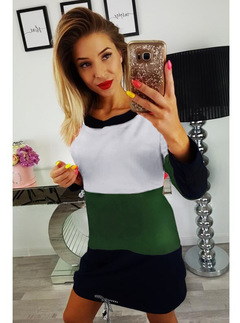 Hot style tricolour stitching round neck band with open back side pocket long sleeve skirt s green