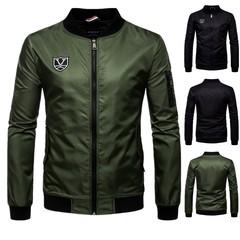 New men's open-collared monogrammed waterproof jacket for men's casual overcoat for men green m