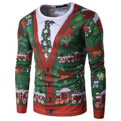 Hot style fall 2018 new Christmas tree fake with two ties 3D printed long-sleeve T-shirt men green m normal