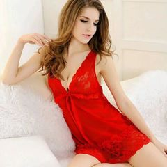 Ladies' sexy lingerie lace net gown halter skirt red m