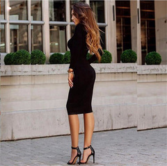 Women's hot style long-sleeved dress pure color 2018 European and American bag buttock sexy s black
