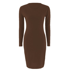 Women's hot style long-sleeved dress pure color 2018 European and American bag buttock sexy l brown
