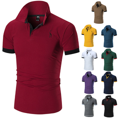 Men's summer new short-sleeved POLO shirts embroidered with tiny deer in size red xxxl normal