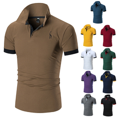 Men's summer new short-sleeved POLO shirts embroidered with tiny deer in size brown xxl normal
