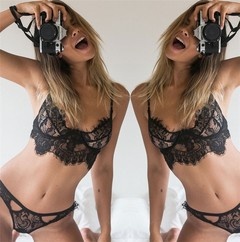 European and American women's lace suspenders sexy hollowed-out suits sexy lingerie interest suits black m