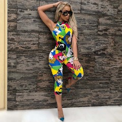 Summer new personality model image hot style hung neck and bare back jumpsuit s The picture color