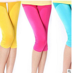 2018Fashion Women Candy Color Skinny Cropped Trousers Leggings yellow one size