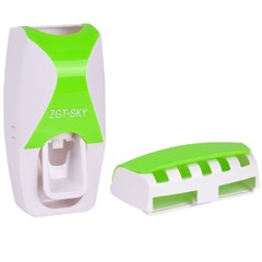 Automatic Toothpaste Dispenser Set 5 Toothbrush Holder Wall Mount Bathroom Supplies Toiletries green one size