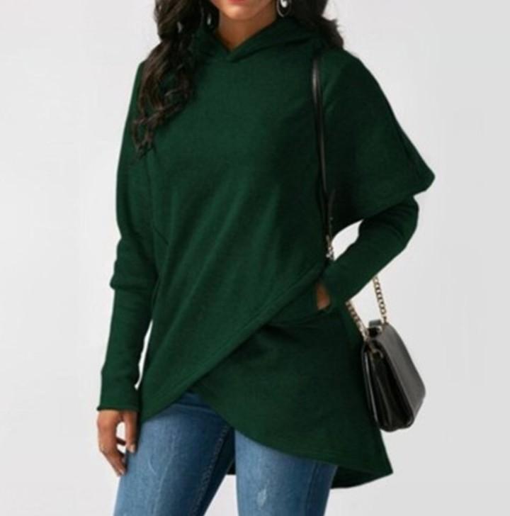 Women Winter Warm Hoodies sweatshit Coat Female Autumn Long Sleeve Pocket wool Pullover Outerwear green 3xl