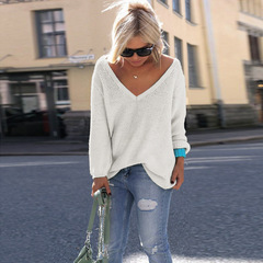 Hot style Europe and America V neck big size pure color fashion pullover coat white s