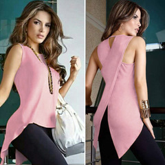 European and American 2018 fashion trend sleeveless back crossed slim shirt T-shirt pink m