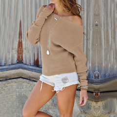 Cross-border hot style autumn/winter 2018 women's sexy one-shoulder long-sleeve top sweater khaki s