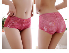 New trackless ice silk 3D simulation denim panties for women's briefs sexy low waist anti-exposure red one size(40-65kg)