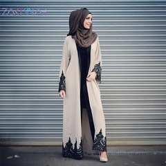 Muslim new high quality Muslim retro gowns dress cardigan gowns lace loose court style m skin color