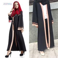 Africa high - quality new fashion color contrast loose belt lace Muslim long gown m black