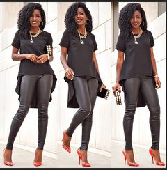 Women's fashion tuxedo shirt S-5XL black s