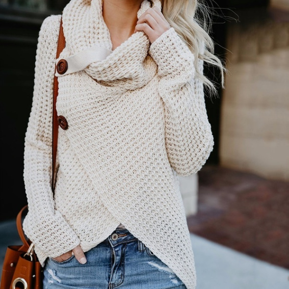Hot style autumn and winter sweaters hot sell women long sleeve irregular knitted sweater white m
