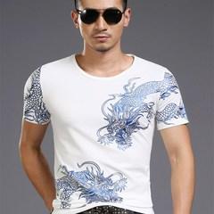 Bronzing 3d Dragon Totem New Print T-shirt Mens Short Sleeve T Shirts Male High Street Casual white m normal
