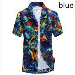 2018 New Summer Mens Short Sleeve Beach Hawaiian Shirts Cotton Casual Floral Shirts blue s