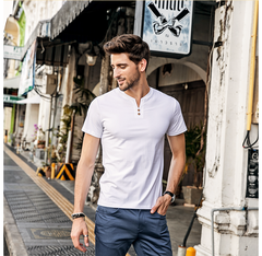 Men's Short Sleeved T-shirt V Neck Button Decorated Casual Solid Slim Fitness Quality Male white m normal