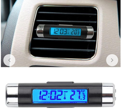 2in1 Car Auto LCD Clip-on Digital Temperature  Clock Calendar Automotive Blue Backlight Clock blue no size