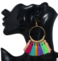 Stylish tassel earrings creative hoop earrings Bohemian earrings The picture color one size