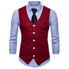 New fashion slim cotton and linen thin simple men casual single row buckle waistcoat multi-color red m